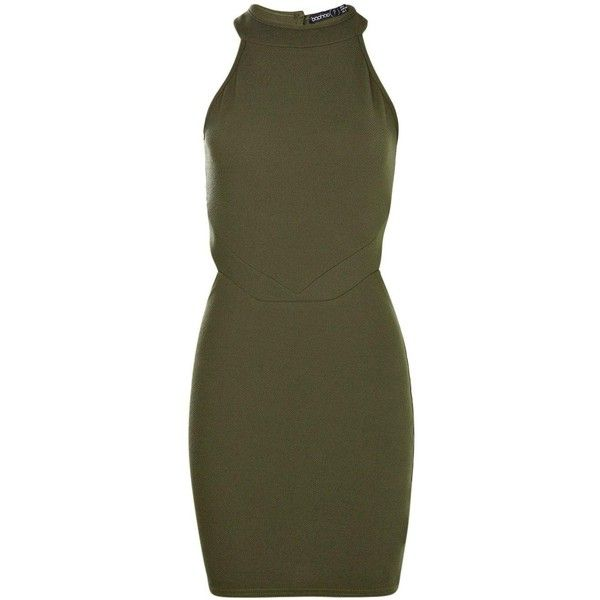 Boohoo Petite Leanna Cut Out High Neck Bodycon Dress (£21) ❤ liked on Polyvore featuring dresses, petite dresses, body con dress, cut out cocktail dresses, high neckline dress and boohoo dresses