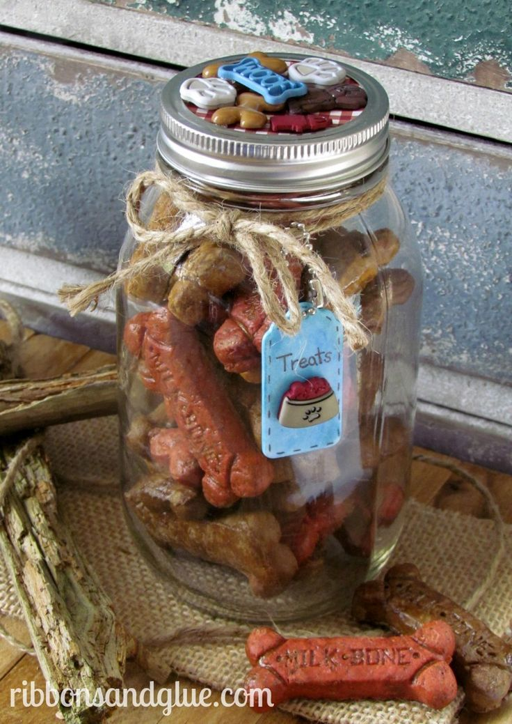 DIY Dog Treat Jar.  All you need is a mason jar and dog themed buttons to make this easy DIY Mason Jar craft for your furry friends.