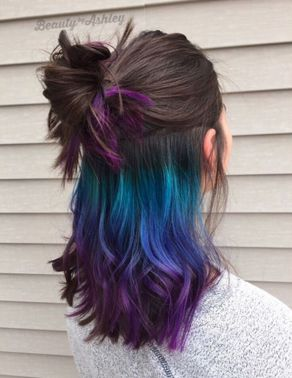 underlights pour un effet rocknroll monvanityideal coloration bleue - Dcoloration Cheveux Colors Chatain Fonc