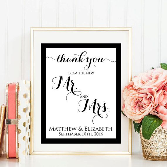 Wedding Thank You Sign, Table Thank You Card, Wedding Favor, Printable, Wedding Thank You Card, PDF Instant Download, WBWD3