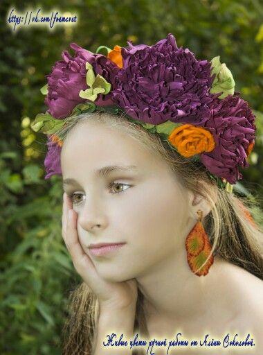 """Венок """"Леди Осень"""" #фоамиран #ручнаяработа #венок #пионы #роза #осень #дляфотосессии #фотосессия #оранжевый #марсала #красота #happy #handmade #pion #roses #wreath #fall #photo #beauty #idea #orange"""
