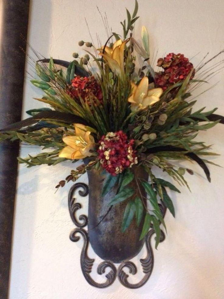 WALL SCONCE DECOR IDEAS | Flower wall, Flower wall decor ... on Silk Flower Wall Sconces Arrangements id=13844