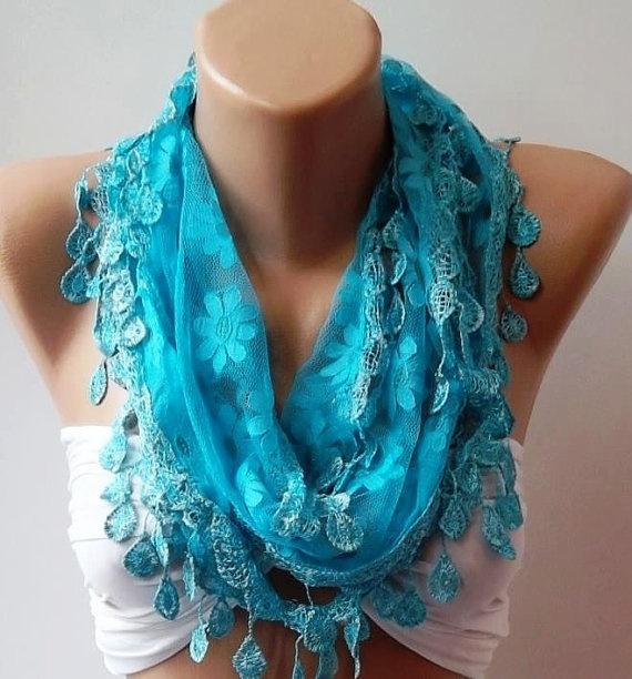 Blue  Elegance  Shawl / Scarf with Lacy Edge by womann on Etsy, $16.00