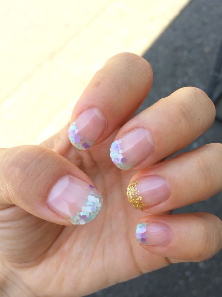 Glitter French. Self nail