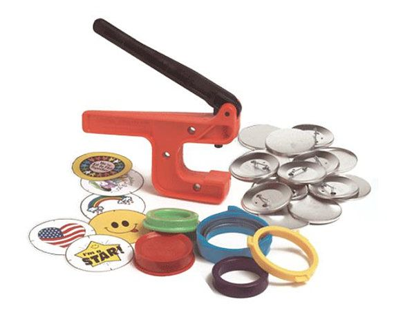 Looking for an inexpensive button making machine to begin your pinback button-making endeavors? This 2 1/4 Button Making Starter Kit from