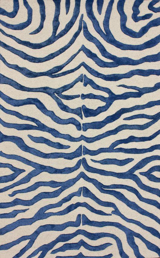 Rugs USA Safari Contemporary Zebra Print with Faux Silk Highlights Royal Blue Rug