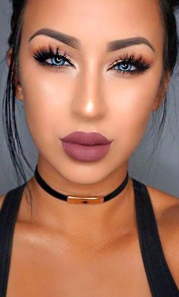 Highlight + Contouring + Purple Lips + Lashes + Gold Eyelid + Drama Liner