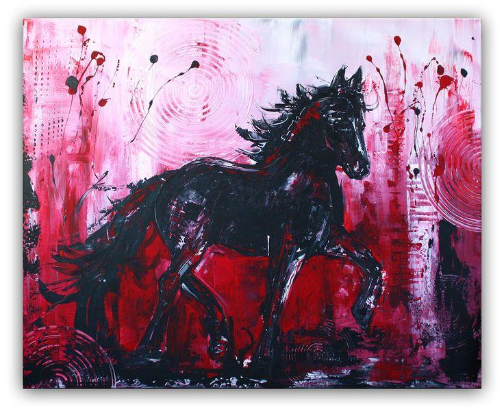 Schwarzer Hengst - Pferdebild Malerei Gemälde Unikat #tierbilder #tiergemälde #tiermalerei #tiere #pferdebilder #pferdemalerei #pferdegemalt #gemaltepferde #handgemaltetiere #tierehandgemalt