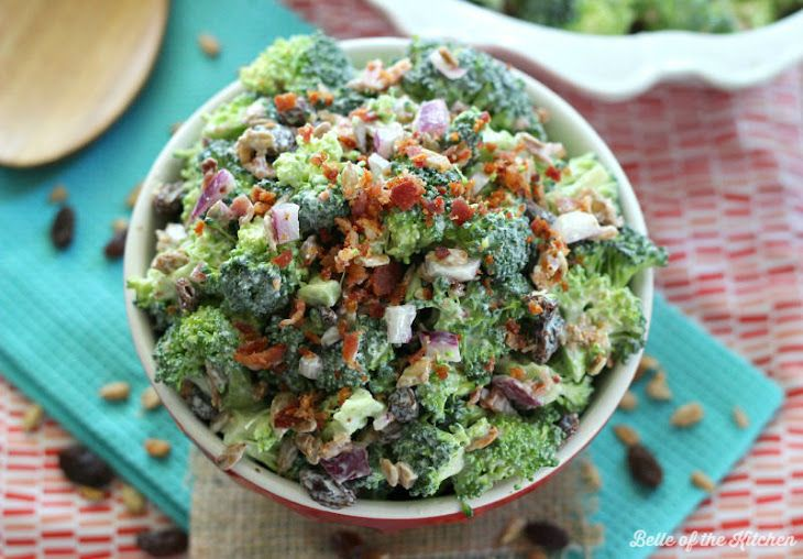 Skinny Broccoli Salad Recipe Salads with broccoli, purple onion, sunflower kernels, raisins, greek style plain yogurt, sugar, white vinegar, bacon