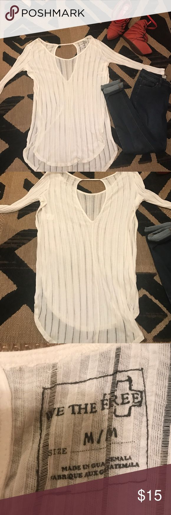 FREE PEOPLE - WHITE SEE THRU TUNIC - M This is super cute with so many things. You can even wear it as a Bikini cover up! Free People Tops Tunics