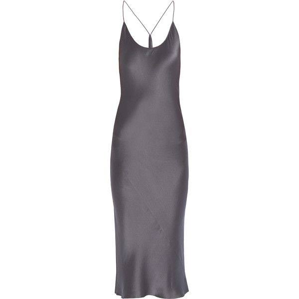 T BY ALEXANDER WANG Silk Satin Slip Dress ($152) ❤ liked on Polyvore featuring dresses, t by alexander wang dress, t by alexander wang, silk satin dress, a line dress and strap dress