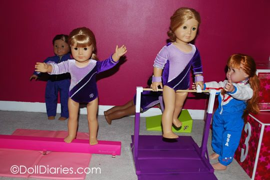 American Girl doll gymnastics practice. I especially like this because of the equipment it includes!