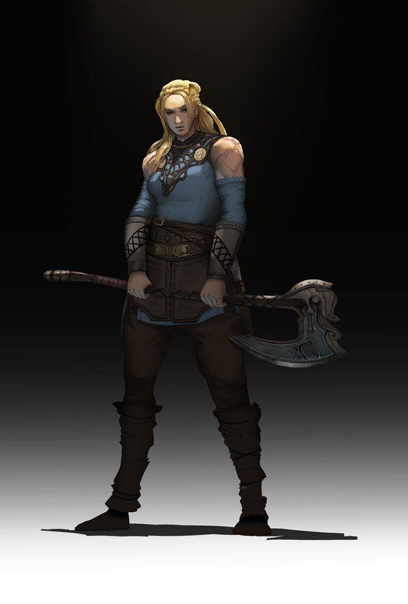 F Barbarian 17th Lvl Battle Axe Underdark Warrior Woman