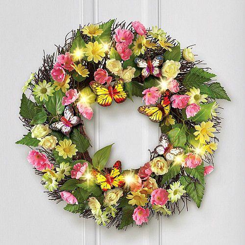 Spring Summer Wreath Lighted Butterfly Daisy Greenery Twig Wreath Wall Decor New #SmartDealsMarket