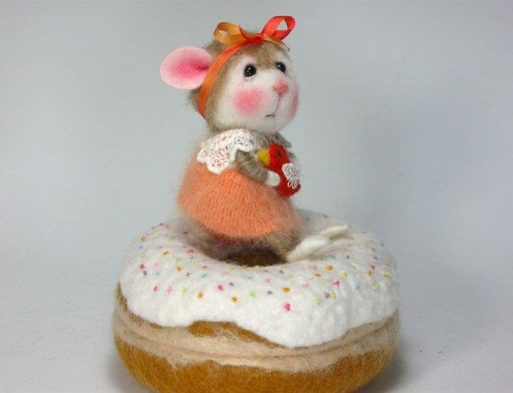"""ADOPT A BUNNY Needle Felted Bunny """"Sweet Pea"""" TINY Wool & Angora Bunny By Barby Anderson, oh, I love this bunny!!"""