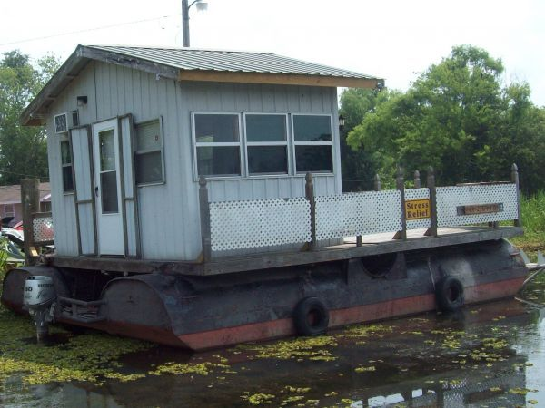 Homemade Pontoon Barge With Cabin 24 L X 18 W Approx 28