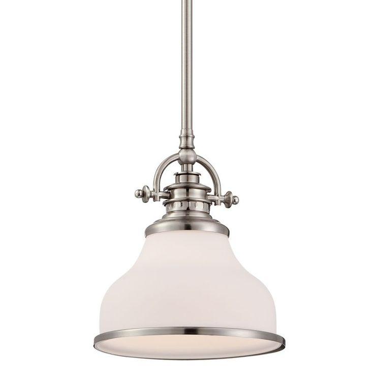 """Quoizel GRT1508 Grant 1 Light 8"""" Wide Pendant Brushed Nickel Indoor Lighting Pendants"""