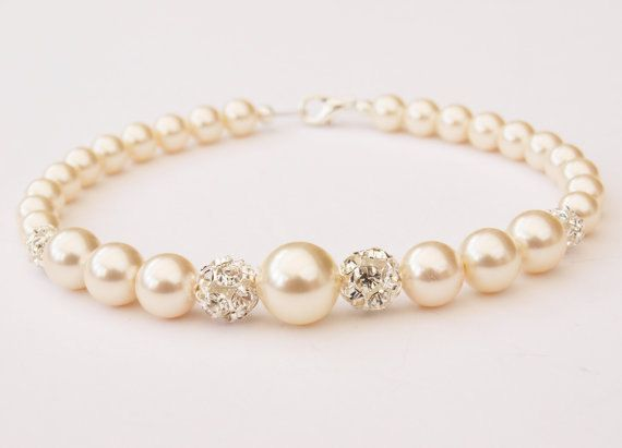 Pearl Bracelet  Bridal Jewellery Swarovski by Makewithlovecrafts, £19.99