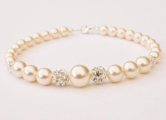 Pearl Bracelet  Bridal Jewellery Swarovski by Makewithlovecrafts, £19.99