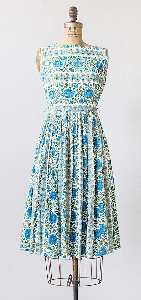 vintage 1960s green blue floral stripes dress | #vintage #1960s #vintagedress