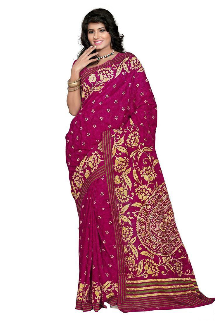 Sizzling Magenta Digital Printed Saree - 25% #Discount #SAREES #DigitalPrintedSaree #DressMaterial