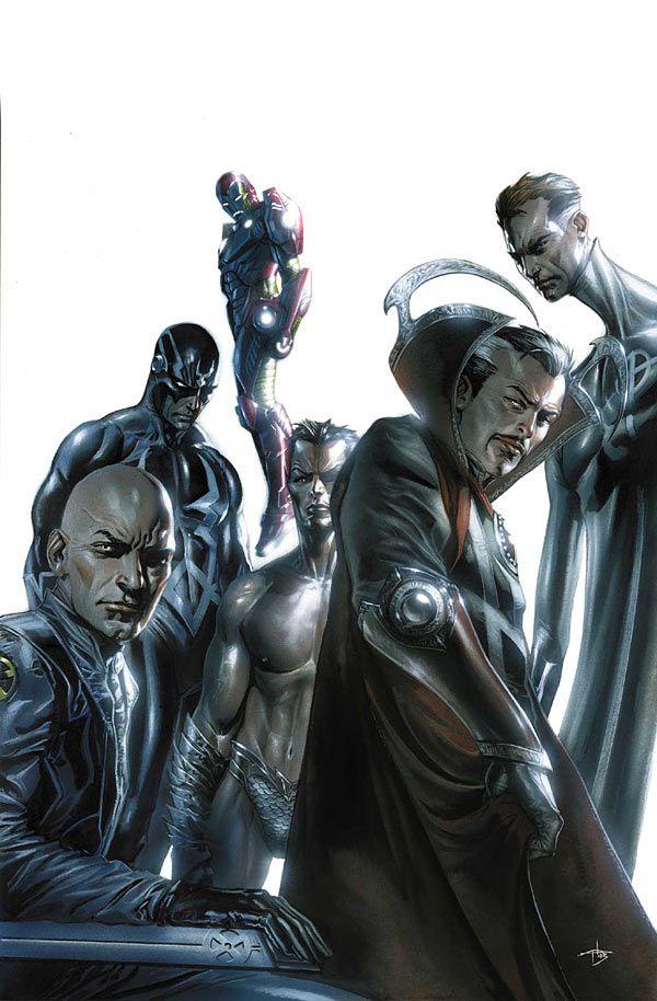 The Marvel Illuminati - Gabriele Dell'Otto. Includes Professor X, Dr. Strange, Mr. Fantastic, Black Bolt, Iron Man, and Namor.