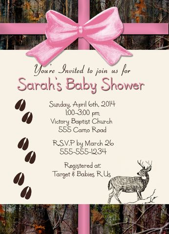 Custom personalized hunting themed camo with deer baby shower invitations for a baby boy or girl.