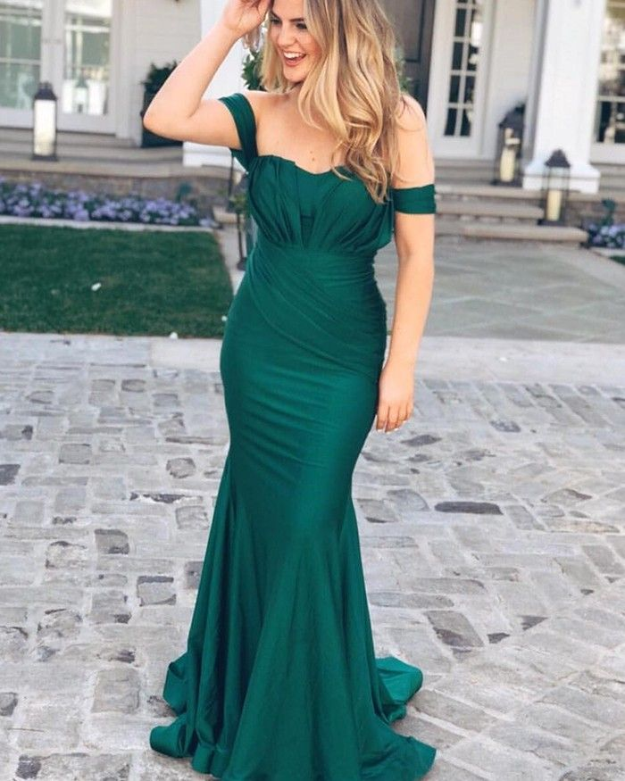 7469af3a28 Shop simple green off the shoulder pleated mermaid style prom dress from  Hocogirl.com