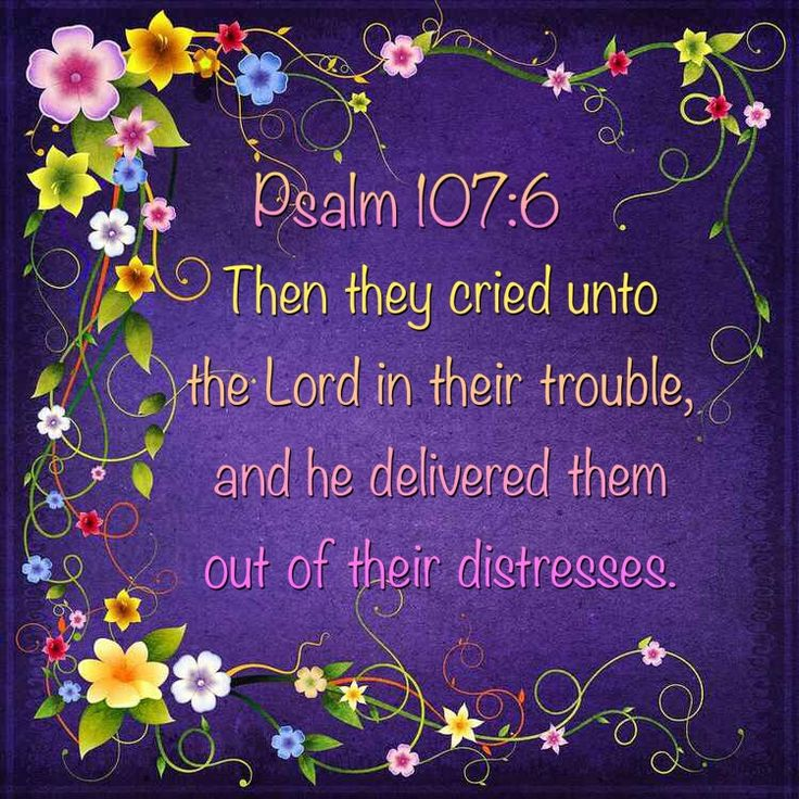 """Then they cried to the LORD in their trouble, and he delivered them out of their distresses."" Psalm 107:6 KJV"