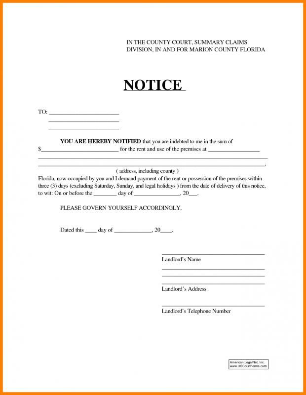 30 Day Eviction Notice Form 30 Day Eviction Notice Eviction Notice Marion County Florida