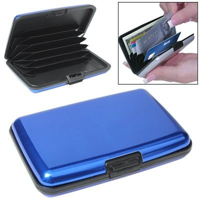 Security Aluminium Credit Card Wallet Card Pack Holder Case Box Protector with 6 Slots (Blue)