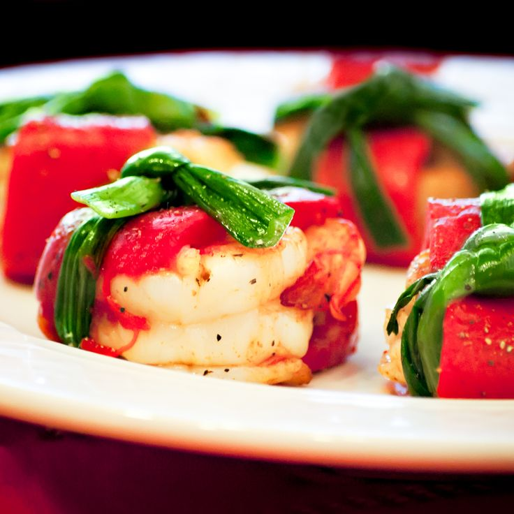 Shrimp Wrapped with Roasted Red Pepper and tied with Green Onion.....
