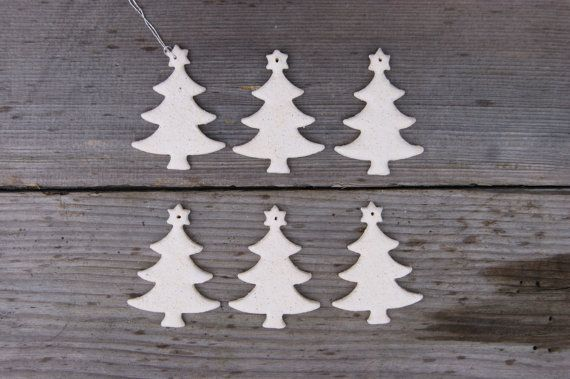White elegant ceramic Christmas tree  Christmas decorations by GlinianaKoniczynka on Etsy
