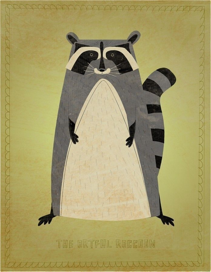 The Artful Raccoon Print 8 in x 10 in - John W. Golden Art