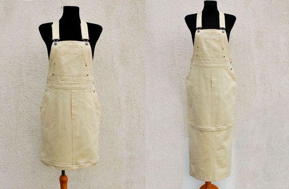 Salopette blanche Ivoire Vintage robe longue jupe coton Sarafan salopette Maxi Mini Grunge salopette Hipster années 1990 grande taille