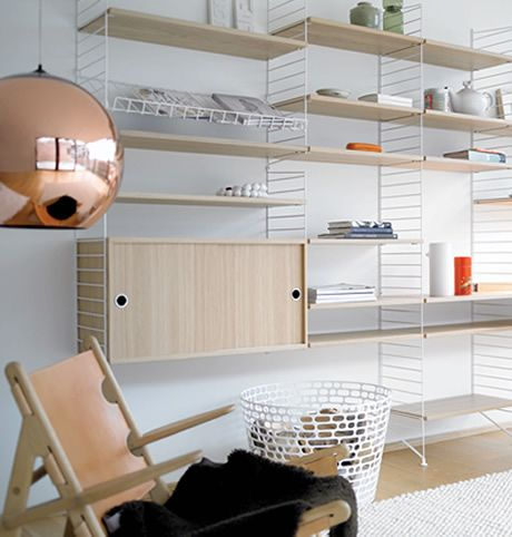 White and Birch string shelving system. Bob and friends