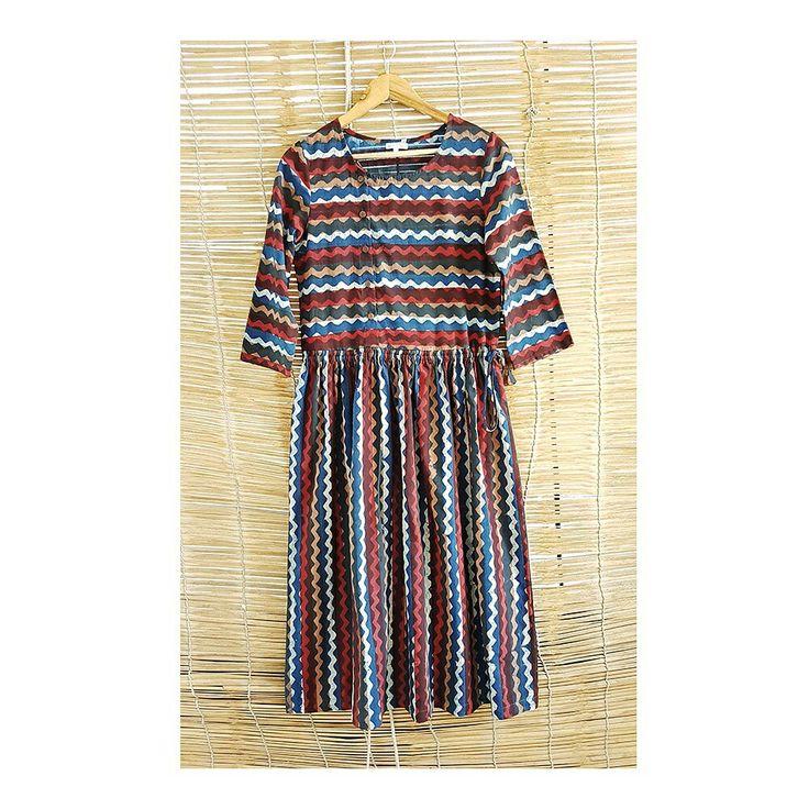 Zigzag Block Print Midi Dress www.gulaalcreations.com