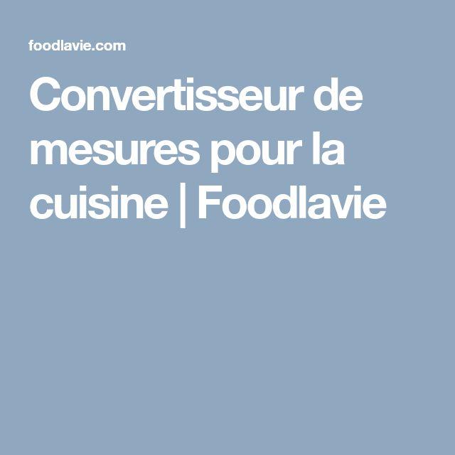 Convertisseur de mesures pour la cuisine | Foodlavie