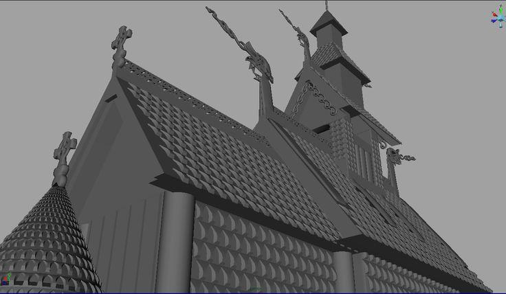 Fantoft Church in 3D, Maya