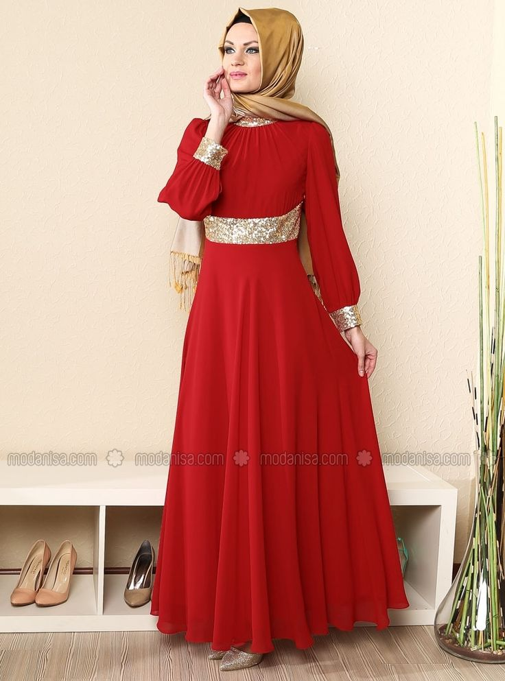 Yakası ve Menşeti Gold Şifon Abiye Elbise- Kırmızı - Modaysa