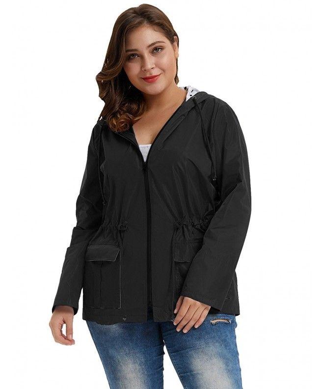 4b4ecdad2ca Women s Waterproof Lightweight Rain Jacket Active Outdoor Hooded Raincoat  HN0036 - Black - CO1896TZD7Q