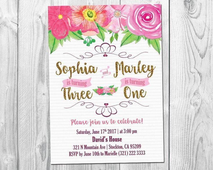 Joint Birthday Invitation / Sibling Birthday Invitation / Twin Girl Birthday Invitation / Floral Girl Birthday Invitation / ANY AGE / by TheFUNtasticDesign on Etsy