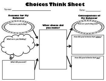 "Restorative Practices ""Think Sheet"" for upper elementary discipline/classroom management"