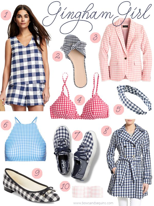Gingham Girl // Red, Blue, and Pink Gingham — bows & sequins
