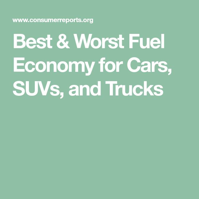 Best & Worst Fuel Economy for Cars, SUVs, and Trucks