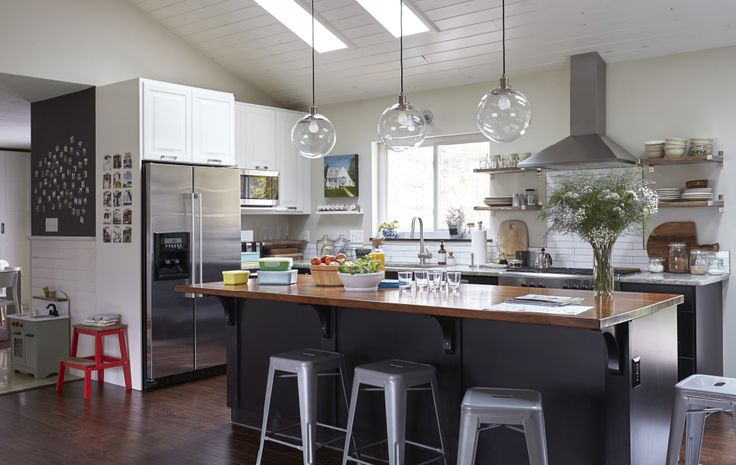 A big kitchen island makes a great spot for socialising