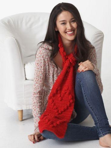 Valentine Heart Scarf | Yarn | Free Knitting Patterns | Crochet Patterns | Yarnspirations