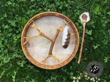 16' Traditional Shamandrum, Frame drum, Natural deer hide drum                      – VPdrums