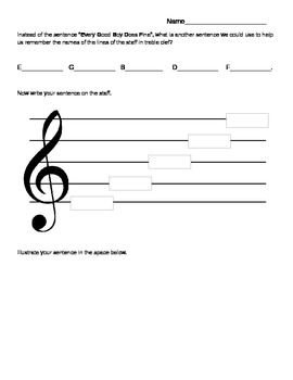 Use this worksheet to help students develop creative thinking skills while learning the names of the lines in treble clef. FREE download!