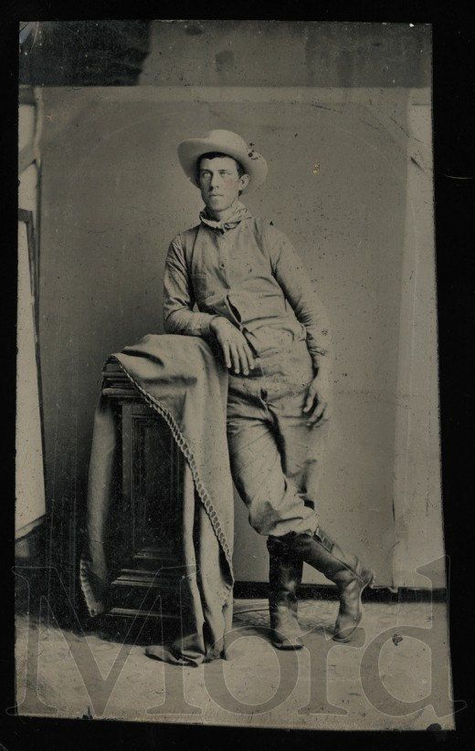 Antique Tintype Photo / Young Cowboy / Boots and Unzipped Pants